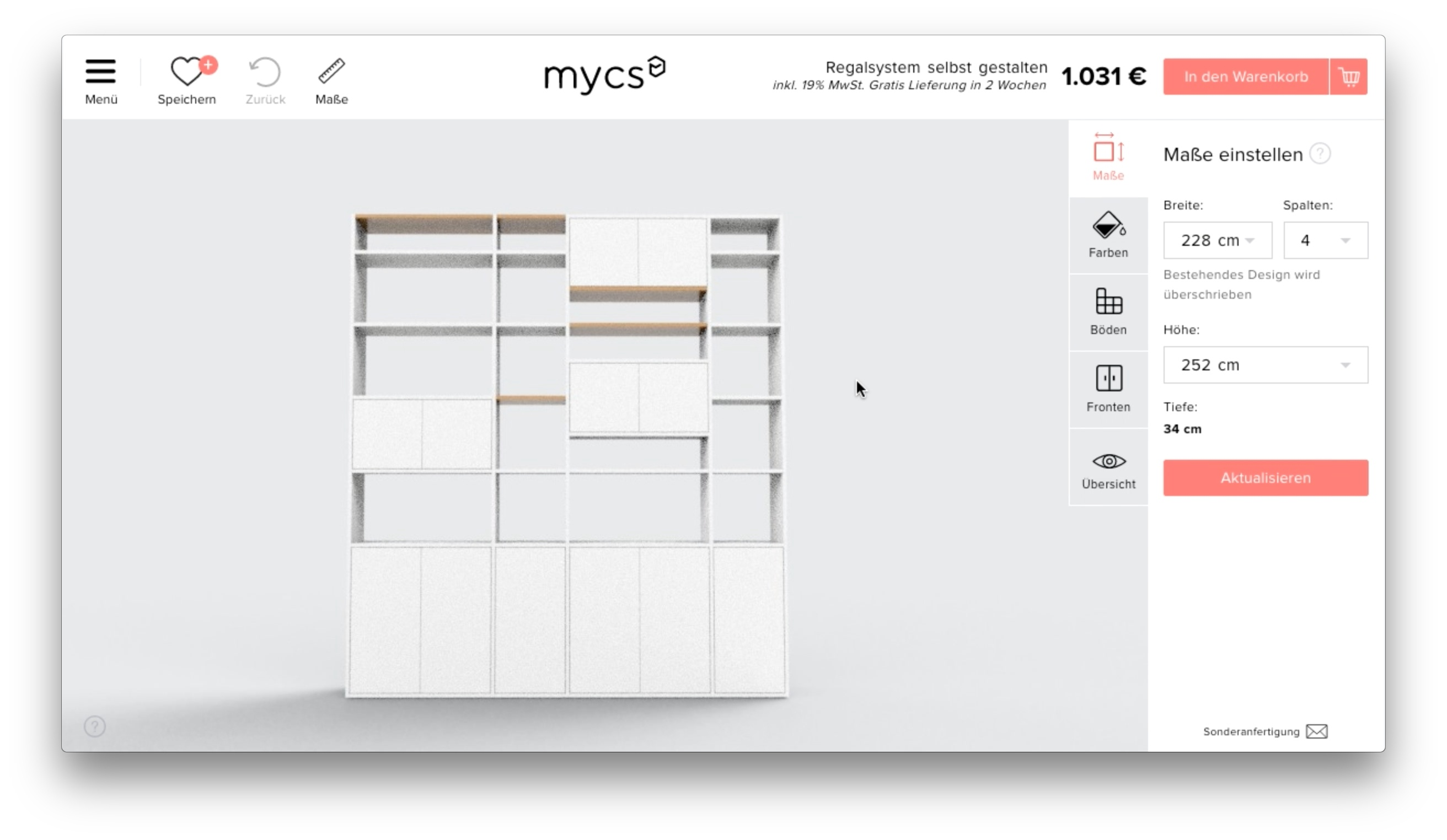 The furniture configurator before the redesign.